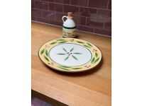 M &S large Pizza plate and Oil drizzler