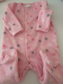 Baby Girls Pink Fleece Baby Grow