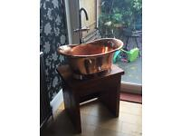 Cooper sink and stand solid mahogany