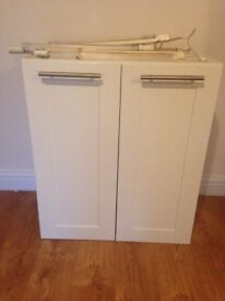 Ikea Faktum Wall Cabinet With Adel Doors and Lansa Handles inc. 2 shelves and lighting 92x80x37cm