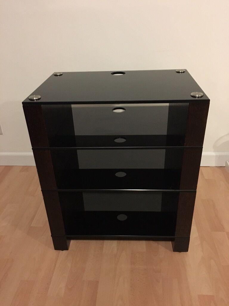 Blok Stax 400 4 Shelf Hi Fi Stand Av Rack Dark Oak Veneer With