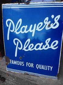 Players Please Enamel Sign