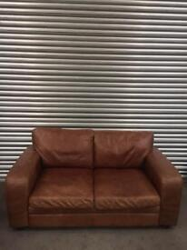 Halo living two seater brown leather sofa vintage style