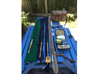 Early fly fishing tackle including split cane rod and Bruce and Walker rods assorted flys/lures