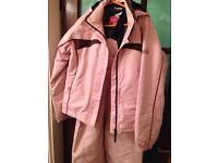Girls pink ski jacket and salopettes size 13 years