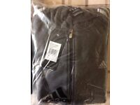 Adidas hoodie, genuine, full zip. Small. Unused still in wrapper with tags. Charcoal grey