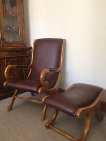 Chesterfield Brown Leather Chair & Footstool