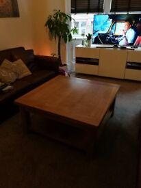 Large oak coffee table