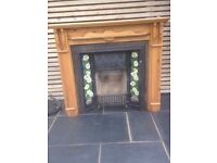 CAST IRON INSERT FIRE WITH PINE SURROUND & FIRE BACK