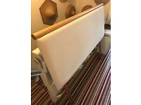 King Size Headboard in Cream Material with Wooden Top