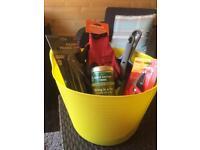 Garden bucket full of tools