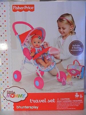 NEW Fisher-Price Little Mommy Travel Set Stroller Diaper Bay Feeding Accessories