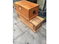 PINE TRUNK TOY BOX OTTOMAN STORAGE BOX SOLID WOOD HANDLES USED