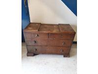 old dark brown wood dressing table
