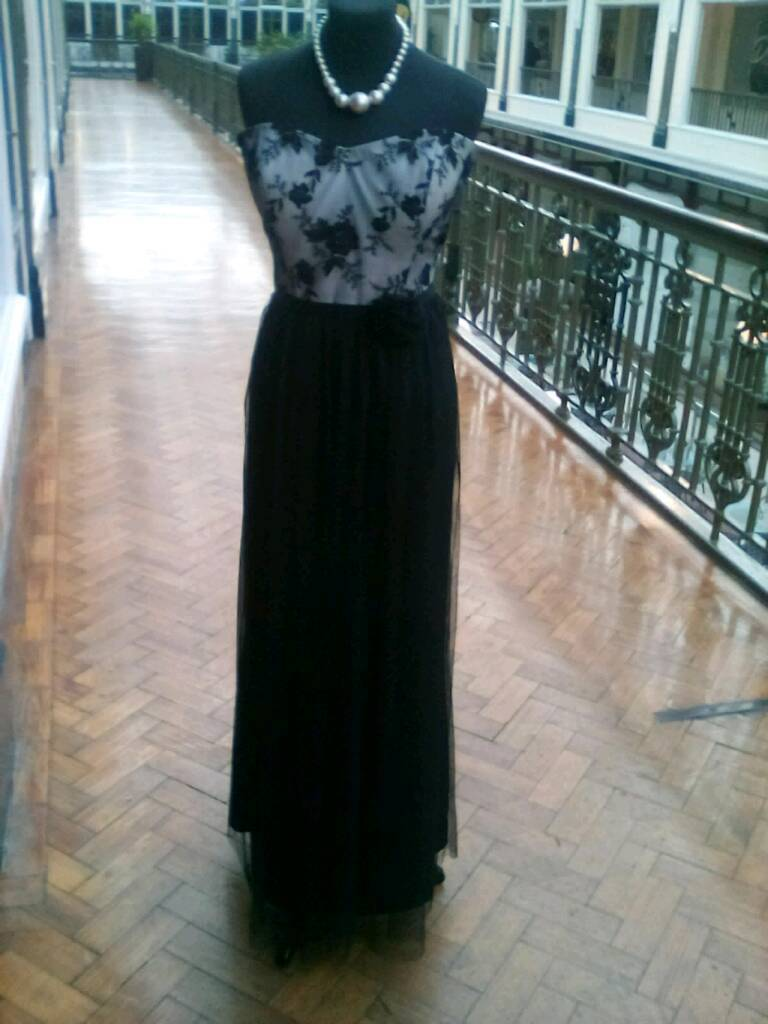 Evening dress black tulle and ivory bodice
