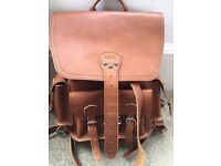Saddleback Leather Backpack, thin front pocket backpack, tobacco color