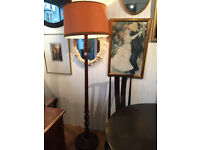 Wooden Standard Lamp , original retro wooden lamp with shade,( 6 ft ) free local delivery.