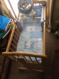 Baby crib (Mothercare) with musical mobile and boy's crib set - £40