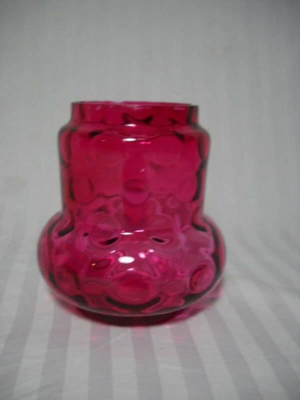 """Vintage Cranberry Thumbprint Pickle Castor Jar/Liner 4 1/2"""" Tall"""