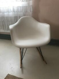 Plastic white rocking chair