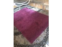 Rug - Aubergine/Purple shaggy style rug and 4 free cushion covers