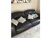 Three seater leather sofa and armchair