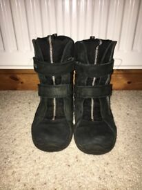 Girls Black Ecco Waterproof Winter Boots