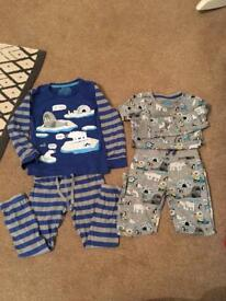 2x sets of 2pairs of m&s Xmas pjs 12-18m 3-4y