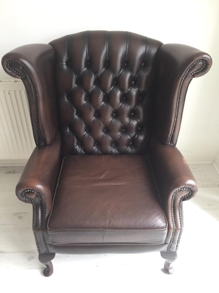 Chesterfield Thomas Lloyd Queen Anne Leather Chair