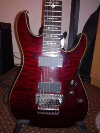 SCHECTER DAMIEN ELITE FR 7 (trade with mexican strat or superstrat with singlecoils and floyd trem)