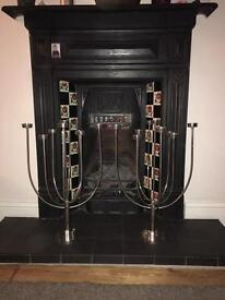 X2 Chrome Plated Brass Tea Light Candelabras