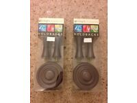 Curtain hold backs in dark wood new in boxes