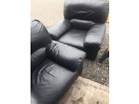Black leather sofa 3 and 2 chairs