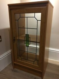 Display Cabinet with Stained-Glass Window and Wood Effect Exterior