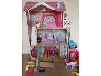 Large barbie dolls house, dolls& accessories