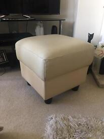 Genuine Leather Cream Pouffe / Footstool