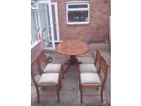 Dining Chairs 4 & Ext. Drop Leaf Oval Table