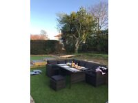 9 Seater Rattan Corner Garden Sofa Dining Table Set Furniture with Cushions RRP £721.99