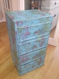 Vintage Retro wooden shabby chic map print small chest of drawers