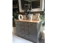 Gorgeous Timeless Grey Country Chic Natural Top Sideboard In Ex Condition