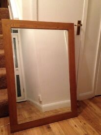 Large Solid Oak Mirror, Fur throw and matching cushion, Mahogany antique look side table