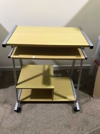 Beech Computer Table On Castors With Additional Storage - RRP £70