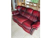 3 piece genuine leather oxblood suite