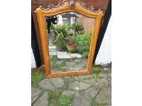 Fabulous hand carved pine surround bevel edged mirror