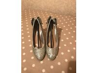 Miss KG silver glitter shoes