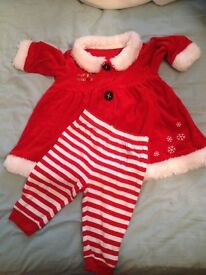 Baby girl's Christmas Mrs Santa dress and leggings (3-6 mths)