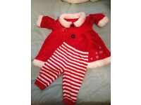 Baby girl's Christmas Mrs Santa dress and leggings (3-6 mths)