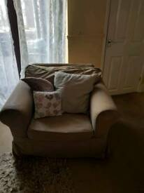 Ikea armchair with brown washable covers