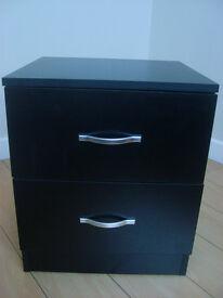 Black Matt 2 drawer bedside cabinet with silver handles.
