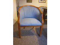 Armchairs, tub-style, upholstered seat and back, solid wood frame